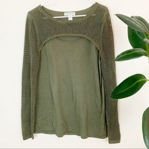 Christopher & Banks | olive mesh cutout sweater M